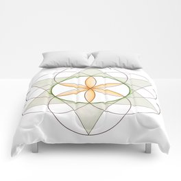 Orange Flower of Life, Sacred Geometry, Crystal Grid/Mandala Comforters