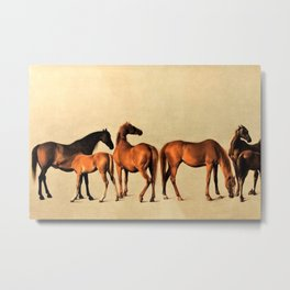 Classical Master Piece Circa 1762  Rockingham Mares and Foals by George Stubbs Metal Print