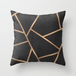 Dark Grey and Gold Textured Fragments - Geometric Design Throw Pillow