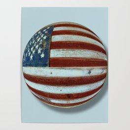American Flag Wood Orb Poster
