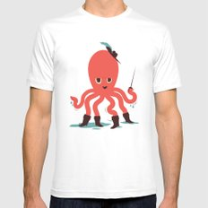 Octopus in Boots MEDIUM White Mens Fitted Tee