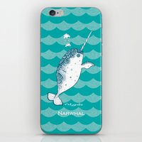 narwhal iPhone & iPod Skins featuring Narwhal by 。i。f。studio