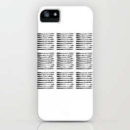 Black squared stripes, hand painted rough texture iPhone Case