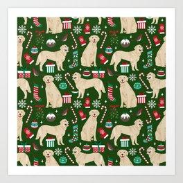Golden Retriever festive christmas dog illustration pet portrait pet friendly gifts for dog breed Art Print
