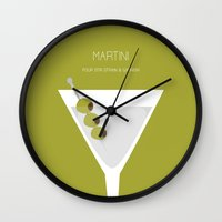 martini Wall Clocks featuring Martini - Alcohol by Stacia Elizabeth