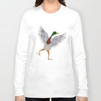 duck Long Sleeve T-shirts featuring Duck by Jade Young Illustrations