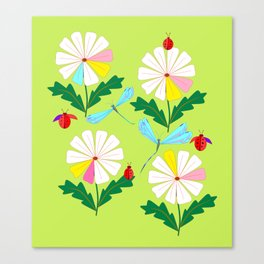Green Spring Damselflies, Lady Bugs and Daisies Canvas Print
