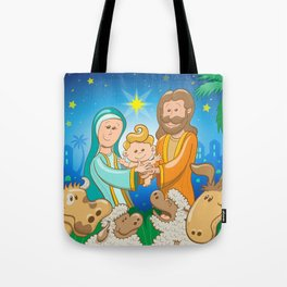 Sweet scene of the nativity of baby Jesus Tote Bag