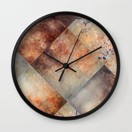 Diamond-Shaped Mercury Glass Colored Panels Wall Clock