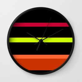 Lime, Red, Orange, Black Stripes Wall Clock