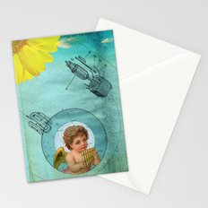 Angel playing music in space Stationery Cards
