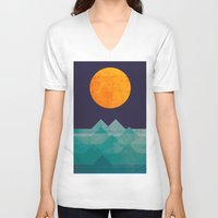 sea V-neck T-shirts featuring The ocean, the sea, the wave - night scene by Picomodi