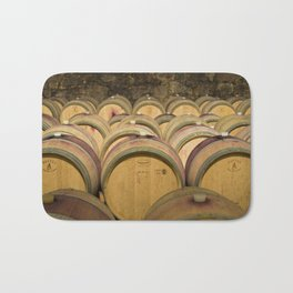 Oak Barrels In Wine Cellar Bath Mat