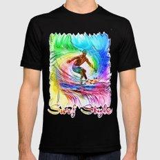 Surf Style Black Mens Fitted Tee MEDIUM