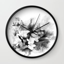Butterflies and Frangipani in black and white Wall Clock