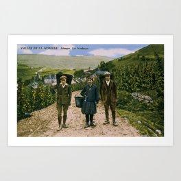 1900 Mosel wine harvest Schengen Luxembourg Art Print