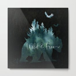 Wild and Free grizzly bear typography Metal Print