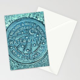 New Orleans Water Meter Louisiana Crescent City NOLA Water Board Metalwork Blue Green Stationery Cards