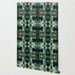 Gems : black, green, cream, brown, yellow, gold ink abstract painting Wallpaper