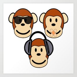 Illustration of Cartoon Three Monkeys - See, Hear, Speak No Evil Art Print