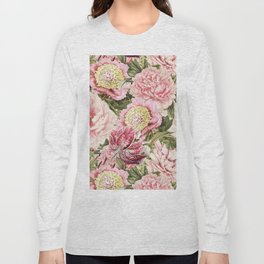 Vintage & Shabby Chic Floral Peony & Lily Flowers Watercolor Pattern Long Sleeve T-shirt