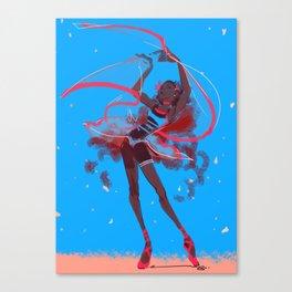 The dance of falling petals Canvas Print
