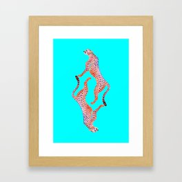 Cheetahs on Turquoise Framed Art Print