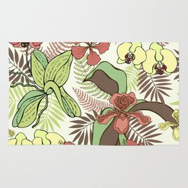 Tropical flowers and leaves. Orchids and hibiscuses. Rug