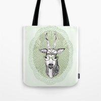 hippie Tote Bags featuring Hippie Deer! by Sagara Hirsch