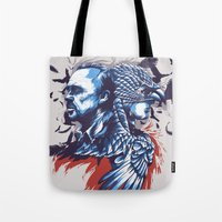 birdman Tote Bags featuring Daily Film #3 - Birdman by Hyung86