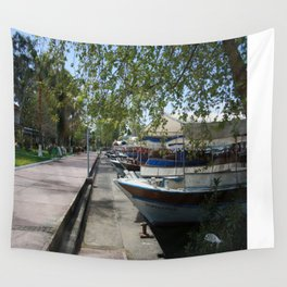 Tour Boats Lining Dalyan River Wall Tapestry