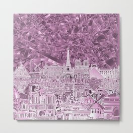 Paris skyline abstract purple Metal Print