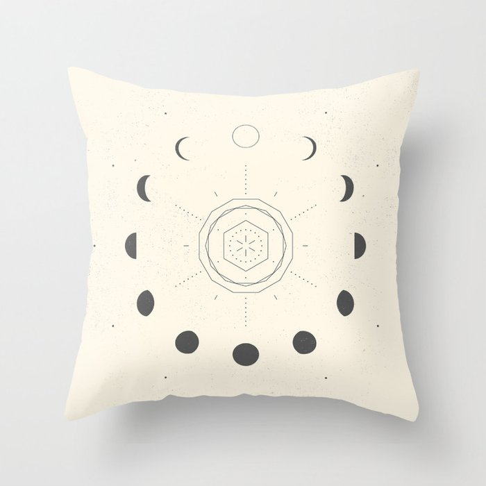 Moon Phases Light Throw Pillow