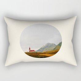 Lonely Icelandic Church Mountains Landscape Round Photo Rectangular Pillow