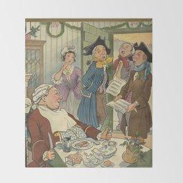 Vintage Christmas Caroling Illustration (1903) Throw Blanket