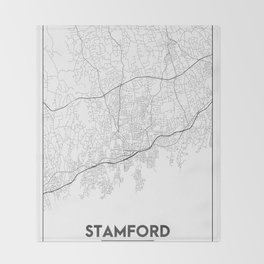 Minimal City Maps - Map Of Stamford, Connecticut, United States Throw Blanket