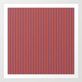 Minimalist Vertical Geometric Seamless Stripe Red & Navy Pattern Art Print