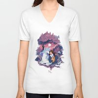 the last unicorn V-neck T-shirts featuring Last Unicorn + Dan Avidan by Stephanie Kao