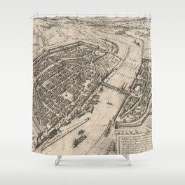 Vintage Pictorial Map of Frankfurt Germany (1575) Shower Curtain