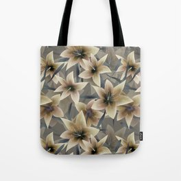 Lily. Grey beige floral pattern . Tote Bag