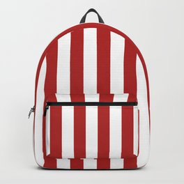 Narrow Vertical Stripes - White and Firebrick Red Backpack