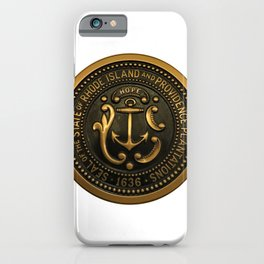 Rhode Island and Providence Plantations Hope and Anchor bronze state seal art portrait iPhone Case