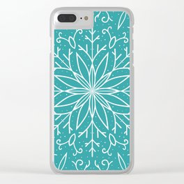 Single Snowflake - Teal Blue Clear iPhone Case