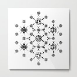 molecule. alien crop circle. flower of life and celtic patterns Metal Print