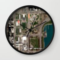 chicago map Wall Clocks featuring Chicago by Mark John Grant