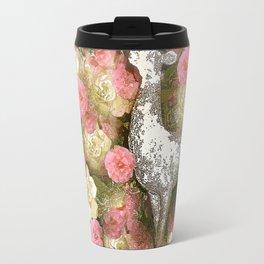 White Deer and Pink Roses Travel Mug
