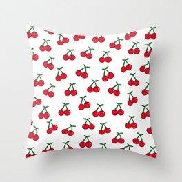 Cherries 1 (on white) Throw Pillow