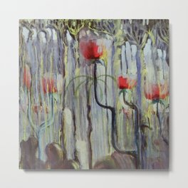 Red Poppies - View of the World Creation of the World No. IX by Mikalojus Konstantinas Ciurlionis Metal Print