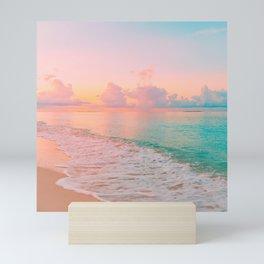 Beautiful: Aqua, Turquoise, Pink, Sunset Relaxing, Peaceful, Coastal Seashore Mini Art Print