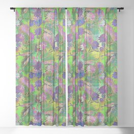 WATER LILY PSYCHODELIC COLOR PATTERN Sheer Curtain